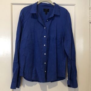 JCrew Vibrant Blue Perfect Fit Linen Button Down